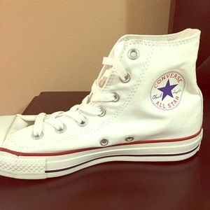 Converse (White) High-Tops  (Never worn)